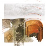 soundchamber, Thinking through design gestures, I did this mixed media painting of a sound chamber.